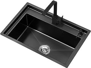 FANGFHOME Gootsteen Évier Nano Noir Évier en Acier Inoxydable de d'épaisseur Évier Simple de Grande capacité Évier de Sall...