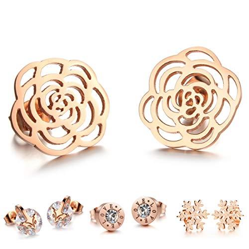 Kim Johanson Damen Ohrringe *15 Designs* aus Edelstahl in Roségold mit Zirkonia Steinchen oder Perlmutt besetzt inkl. Schmuckbeutel (Rose)