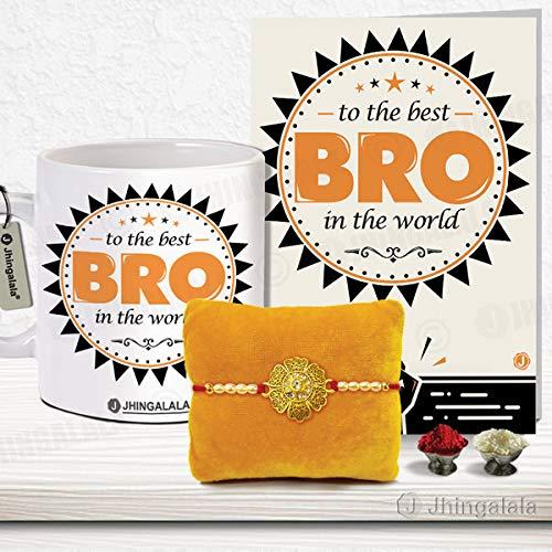 Jhingalala ® Premium Quality Rakshabandhan Gifts Pack for Brother (Designer Rakhi, Printed Coffee Mug, to The Best Bro in The World Raksha Bandhan Greeting Card, Roli Chawal)