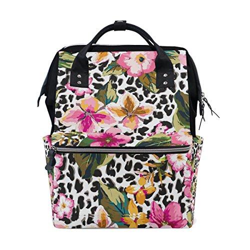 COOSUN luipaard patroon met tropische bloem luier veranderen tas luier rugzak met geïsoleerde zakken wandelwagen banden, grote capaciteit multifunctionele stijlvolle luiertas voor mama pa outdoor