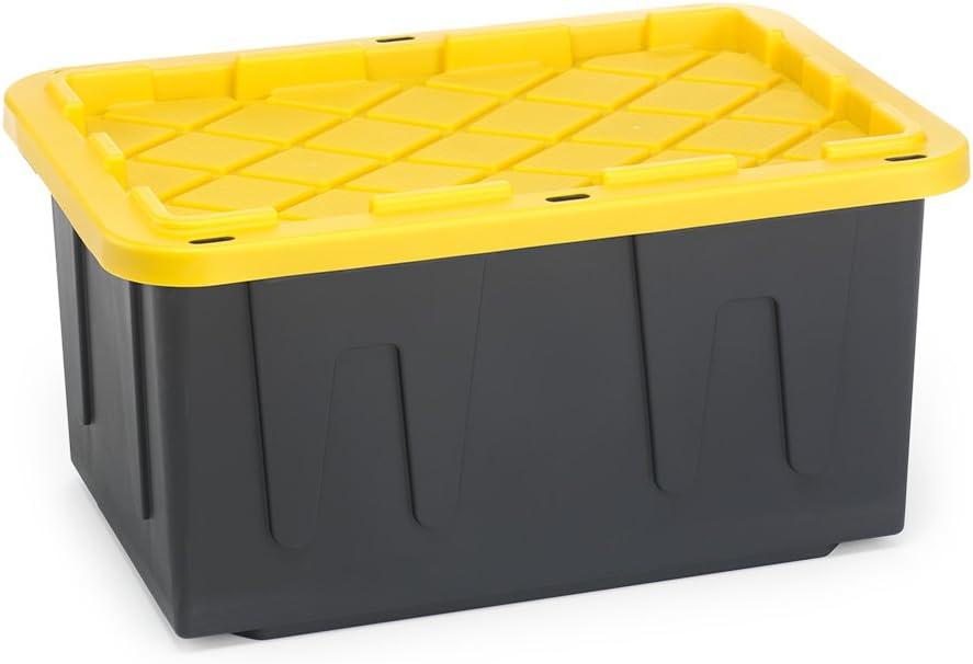 HOMZ 27 Gallon Popular brand Durabilt Tough Base Black Storage Ranking TOP18 Container Yel