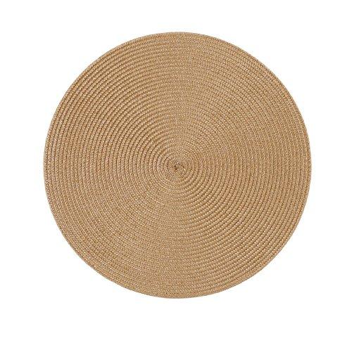 Stuco trends textile 2003-61 4er Pack, Tischset Rund 35 cm, 100% Polypropylen, Caramel