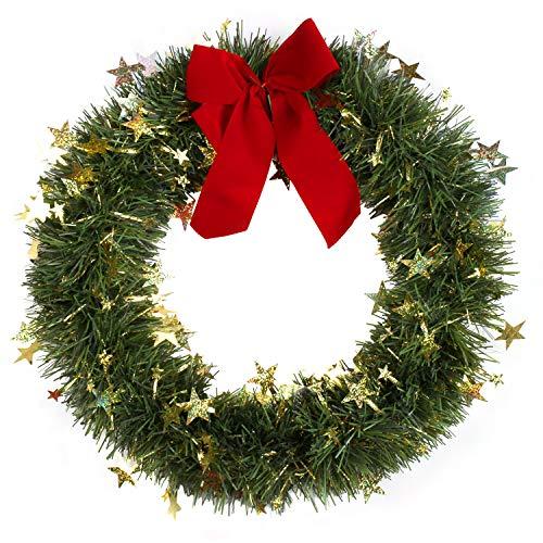 KATELUO Weihnachtskranz, Bowknot Türkranz Weihnachten Weihnachtsdeko Kranz Weihnachtsgirlande mit Kugeln Handarbeit Weihnachten Garland Deko-Kranz, für Hochzeit, Party, Garten, Wanddekoration