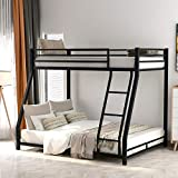 Low Bunk Beds Twin Over Full Size with Sloping Stair, Heavy Duty Bed Frame with Safety Guard Rails for Kids Teens Adults, No Box Spring Needed (Black)
