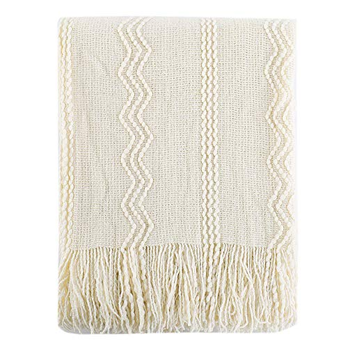 Battilo 100% Acrylic Knit Throw Classic Knitted Throw Blankets for Couch Chair Sofa, 50 x 60 Inch, Soft Warm Lightweight (Cream)
