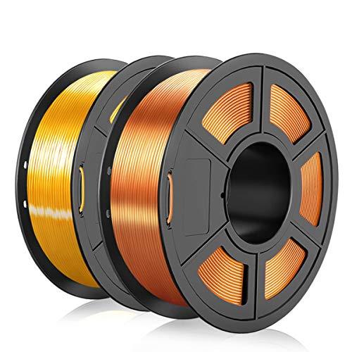 3D Printer Shiny Silk PLA Filament 1.75mm,3D Warhorse PLA 3D Printer Filament,2KG/Spool,Metal Shiny PLA Printing Materials,Dimensional Accuracy +/- 0.02 mm,Silk Copper & LightGold