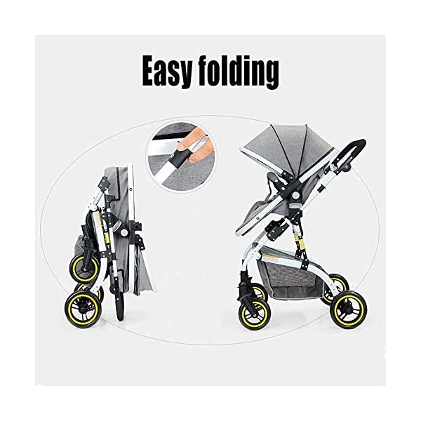 LAMTON Baby Stroller High Landscape, City Jogging Four-Wheel Collapsible Two-Way Shock Adjustable Baby Stroller to Send Mosquito Net Cotton Pad Foot Cover Wrist Band, Suitable for 0-36 Months Baby LAMTON This double stroller features an aeronautical aluminum frame that makes it lighter and stronger, and the fabric is made from linen for a more breathable and refreshing look. The front wheel design of the stroller can be rotated 360°, the built-in spring shockproof, strong shockproof, adapt to a variety of review roads, making the baby more comfortable. Stroller configuration: equipped with a five-point seat belt, detachable armrests, adjustable pusher height, and an enlarged basket at the bottom. 4