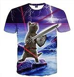 Pizoff - Camiseta unisex con diseño de gato y caricatura en 3D 001120015x85 XXL