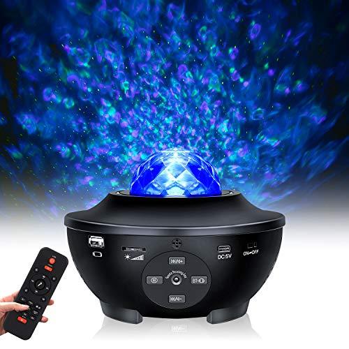 Tanbaby Sternenhimmel Projektor, LED Sternenlicht Projektor, Baby Sterne Lampe mit Fernbedienung, Farbwechsel Musikspieler mit Bluetooth & Timer, Wasserwellen Projektionslampe für Kinderzimmer Zuhause
