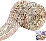 Wohlstand 3pcs Cinta de arpillera,cinta de lino,de arpillera Natural Vintage Craft Rollo de Cinta DIY Artesanas Hechas a Mano de arpillera