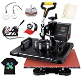 Seeutek Heat Press 5 in 1 Heat Press 12x15 inch Machine 360-Degree Swing Away Digital Sublimation Multifunction Combo for T Shirts Mugs Hat Plate Cap