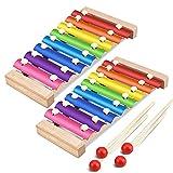 Xilofono,ZUZER 2pcs Xilófono Infantil Xylophone Glockenspiel de Madera de Colores Juguete de Instrumentos Musicales para Niños(Talla 1)