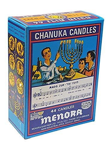 Menora Hanukkah Multi Colored Candles / 44 Per Box (Multicolored, 6 Inch)