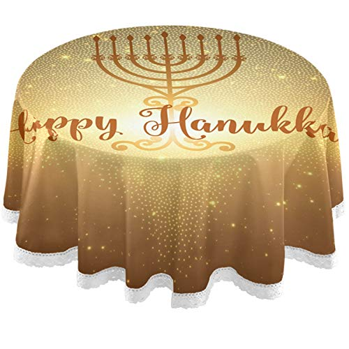 Oarencol Hanukkah Star Round Tablecloth 60 Inch Table Cover Washable Polyester Table Cloth for Buffet Party Dinner Picnic