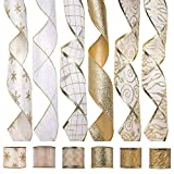 iPEGTOP Wired Christmas Ribbon, Assorted Organza Swirl Sheer Glitter Crafts Gift Wrapping Ribbons Colorful Christmas Design Decorations, 36 Yards (6 Roll x 6 yd) by 2.5 inch, Poinsettia Plaid