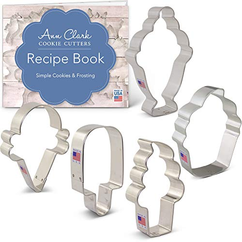 Ann Clark Cookie Cutters 5-Piece Ice Cream and Sweets Cookie Cutter Set with Recipe Booklet, Ice Cream Cone, Soft Serve Cone, Popsicle, Ice Cream Sundae