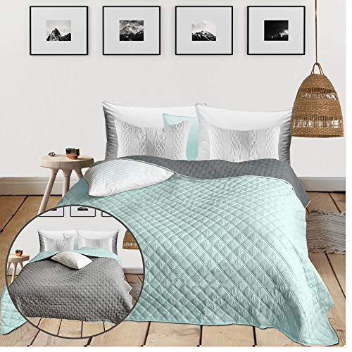 HOMELEVEL Tagesdecke Bett & Sofaüberwurf 220cm x 200cm Bettüberwurf Sofa Tages Decken Betthusse XXL Decke Überwurf Mint/Grau