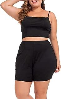 2 Piece Outfits for Women Plus Size Crop Top Shorts Sets Club Suit