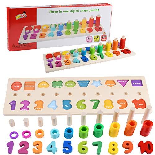 Juguetes educativos para niños de 1 2 3 años, juguetes de madera, tablero de conteo de bebés, clasificación de apilamiento de números, juegos de aprendizaje de matemáticas, regalos de cumpleaños