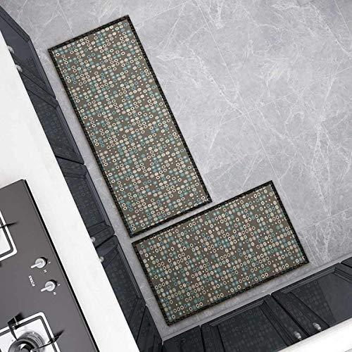 OPLJ Küchenmatte Anti-Rutsch-Türmatte Modernes Wohnzimmer Balkon Badezimmer Geometrisch bedruckter Teppich Waschbare Fußmatte A7 40x120cm
