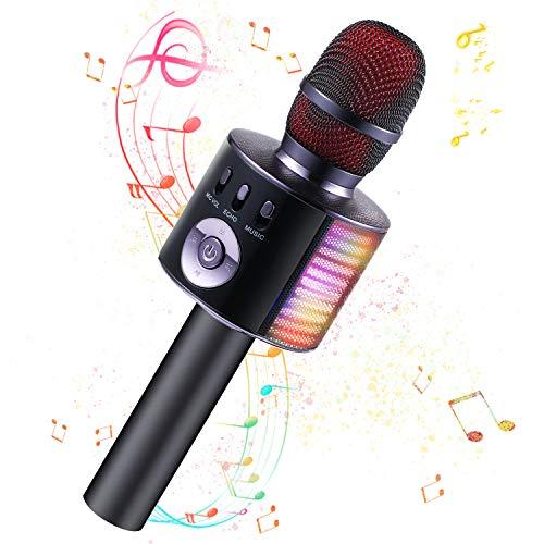 Fede Karaoke Mikrofon Kinder, Lustige Geschenke Spielzeug für Teenager Mädchen Jungen, Drahtloses Bluetooth Mikrofon