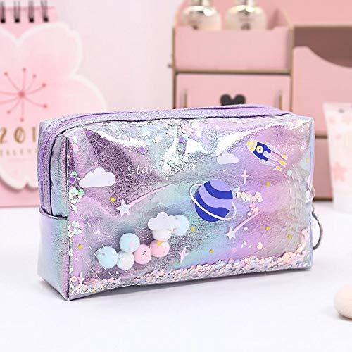 NYSYZSM Estuche con purpurina de gran capacidad para lápices escolares, estuche de maquillaje, suministros para lápices, estuche escolar, 21 x 16 cm, color morado