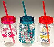 Complete set of 3 plastic tumbler cups with reusable straw and lids Fun drinking jars both kids and adults will love! 1 x Flamingo, 1 x Palm leaf and 1 x Summer designs