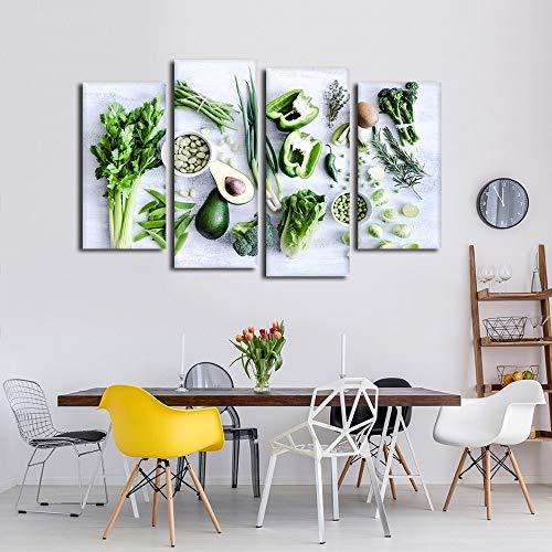 HCHD Modular Leinwand HD Printed Bilder Küchen-Dekor 4 Stück Gesunde Greens Gemüse Capsicum Salat Paintings Wand-Kunst-Plakat (Size (Inch) : 40x80cmx2 40x100cnx2)