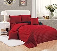 Compressed Two-Sided Color 6 Pieces Comforter Set, King Size - St-009, Red, Microfiber