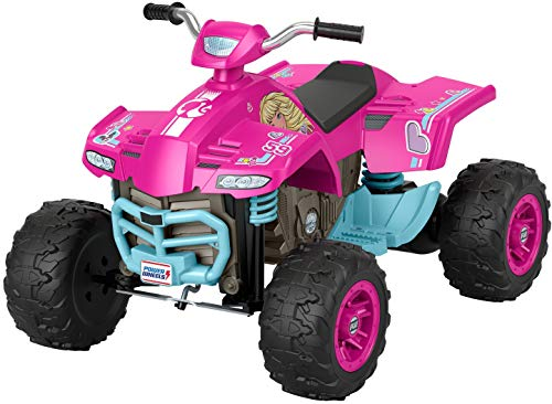 Fisher-Price Power Wheels Barbie Pink Racing ATV, 12-V Battery Powered Ride-on Vehicle for Preschool Kids Ages 3-7 Years