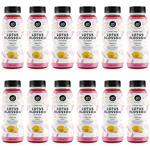 Marca Amazon - Happy Belly Select Té blanco helado con flor de loto, 12x500ml