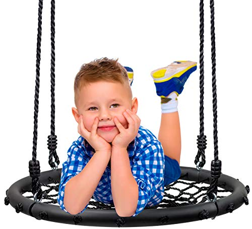 Sorbus Spinner Swing – Kids Round Web Swing – Great for Tree, Swing Set, Backyard, Playground,...