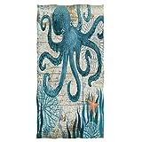 Pfrewn Octopus Sea Starfish Retro Mapa Toallas de mano 16 x 30...