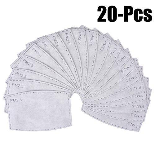 20 stuks maskerfilters voor volwassenen, dustbestendig, 5 lagen PM2,5-stof geactiveerd koolstoffilters.
