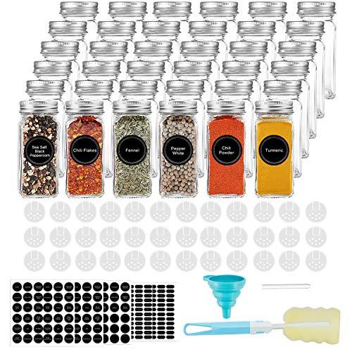 AIKKIL Botellas de especias de 100 ml. Tarros cuadrados vacíos. Tapa coctelera y tapas de metal herméticas. Embudo de silicona plegable incluido (36 unidades).
