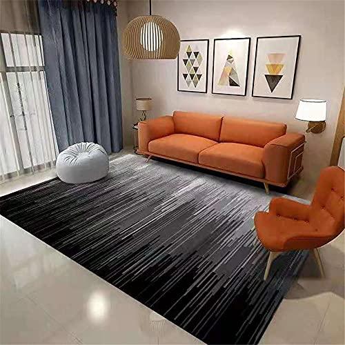Cómodo Lavable Alfombras Negro Alfombra de Estar Alfombra Negro Rayas borrosas Simple Dormitorio Alfombra Multi-tamaño Tacto Suave Mesa De Centro Alfombras 140x200cm 4ft 7.1''X6ft 6.7''