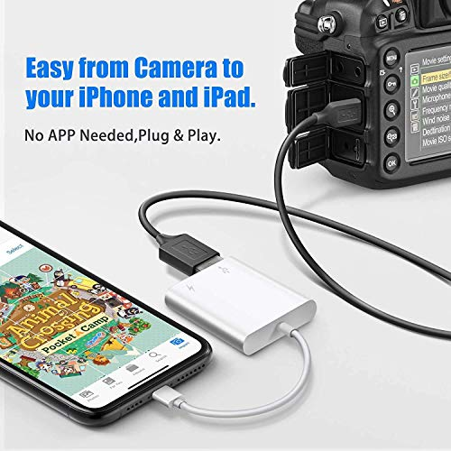 USB OTG Adapter, USB Camera Adapter for iPhone, iPad USB Adapter USB 3.0 OTG Cable Supports Trail Game Camera, USB Flash Drive, Keyboard