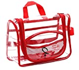 Rough Enough Clear Hanging Travel Toiletry Bag for Women Makeup Bag Organizer Cosmetic Bag Case TSA Approved for Shaving Kit Travel Essentials Accessories Bathroom Shower Business Trip Water Resistant