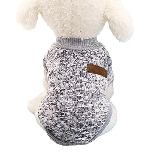 Pet Dog Puppy Classic Sweater Fleece Sweater Clothes Warm Sweater Winter Gray
