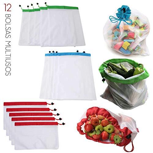 CHIC FANTASY. Bolsas ecologicas de malla reutilizable, ecológicas, lavables para almacenamiento de frutas, verduras y varios productos mas Bolsas multiusos Paquete con 12 piezas...