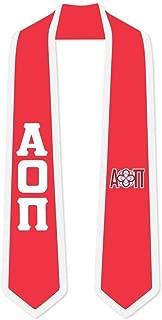 Alpha Omicron Pi AOII Greek 2 Tone Lettered Graduation Sash Stole