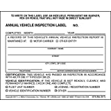 Annual Vehicle Inspection Label 20-pk. - 2-Ply, Vinyl with Mylar Laminate, 5' x 4' - Consecutively Numbered - Meet DOT AVIR Requirements - J. J. Keller & Associates