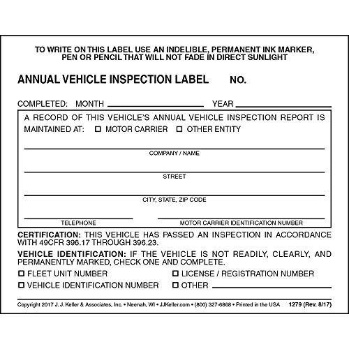 Annual Vehicle Inspection Label 100-pk. - 2-Ply, Vinyl with Mylar Laminate, 5' x 4' - Meet DOT AVIR Requirements Under 49 CFR 396.17(c)(2) - J. J. Keller & Associates