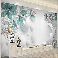 Lcymt 現代の3 Dステレオ花階段抽象芸術壁画リビングルーム寝室の背景の壁の装飾-150X120Cm