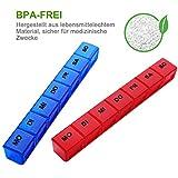 Tablettenbox 7 Tage Deutsch, SUKUOS 2X Pillendose 7 Fächer, Medikamenten-Box für 7 Tage (2 Stück - Blau/Rot) - 2