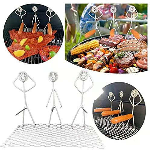 Estante para asar Hotdog de acero inoxidable para barbacoa, tres hombres en forma de palo de asar fuego, tenedores de barbacoa para fogata
