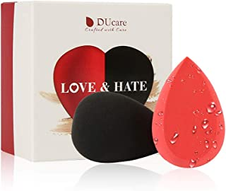 DUcare Makeup Sponge Set Heart Shape Blender Beauty Blending Sponges for Powder, Concealer and Foundation - Black and Red