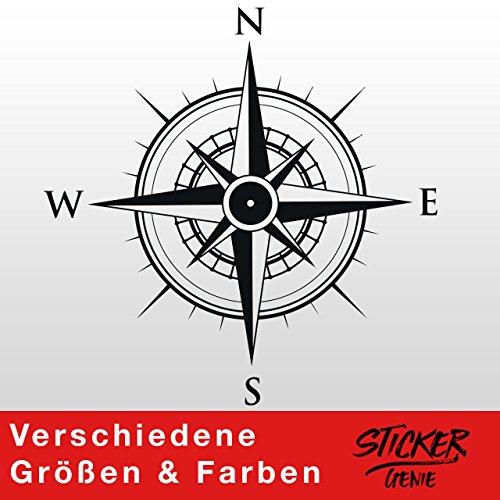 KOMPASS Windrose Aufkleber Wandtattoo Wandaufkleber Sticker (60 (B) x 60 (H) cm, Schwarz)