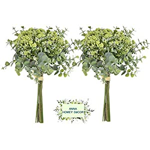 Anna Homey Decor Artificial Baby Breath Flowers in Bulk Artificial Plants Gypsophila with Silver Dollar Eucalyptus Leaves Fake Flower for Wedding bonquet Office Home Decoration (Green -Pack of 2