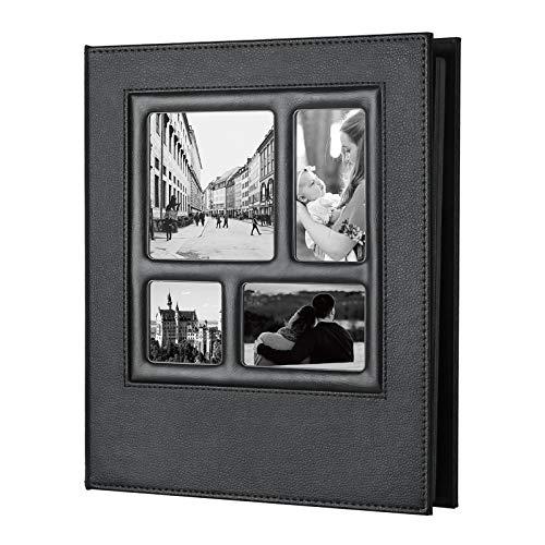 Yorbay PU-Leder DIY Fotoalbum Gästebuch zum selbstgestalten, Scrapbook Album Schwarze Seiten Fotobuch mit Weißes Pergamentpapier zum Einkleben Fotoalben Mehrweg